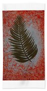 Gold Leaves On Orange Triptych Beach Towel