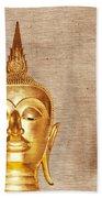 Gold Painted Buddha Statue Beach Towel