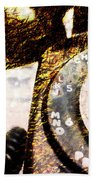Gold Rotary Phone Beach Towel