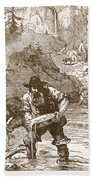 Gold Washing In California, From A Book Beach Towel