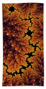 Golden And Black Fractal Universe Beach Towel