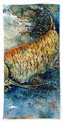 Golden Arowana Beach Towel by Zaira Dzhaubaeva