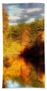 Golden Autumn Beach Towel by Joann Vitali