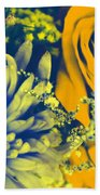 Golden Blossoms Pop Art Beach Towel