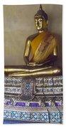 Golden Buddha On Pedestal Beach Sheet