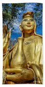 Golden Buddha Statue Beach Towel