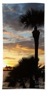 Golden Clouds Over Tampa Bay Beach Towel