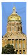 Golden Dome Of Iowa State Capital Beach Towel