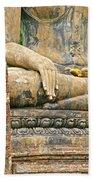Golden Fingernails On Sitting Buddha At Wat Mahathat In Sukhothai Historical Park-thailand Beach Towel