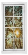 Golden Forest  Branches White 8 Windowpane View Beach Towel