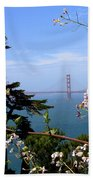 Golden Gate Bridge And Wildflowers Beach Towel