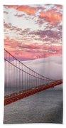 Golden Gate Bridge Sunset Evening Commute Beach Towel
