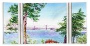 Golden Gate Bridge View Window Beach Sheet