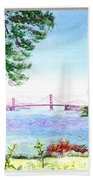 Golden Gate Bridge View Window Beach Towel