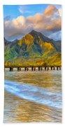 Golden Hanalei Morning Beach Towel