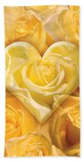 Golden Heart Of Roses Beach Towel