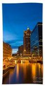 Golden Hour Milwaukee River Beach Towel