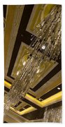 Golden Jewels And Gems - Sparkling Crystal Chandeliers  Beach Towel