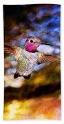Golden Light Hummingbird Flight Beach Towel