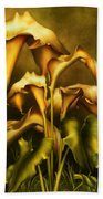 Golden Lilies By Night Beach Towel