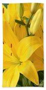 Golden Lilies Beach Towel