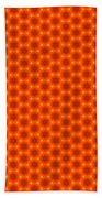 Golden Orange Honeycomb Hexagon Pattern Beach Towel