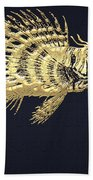Golden Parrot Fish On Charcoal Black Beach Towel