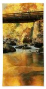 Golden Reflection Autumn Bridge Beach Towel
