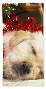 Golden Retriever Under Christmas Tree Beach Towel