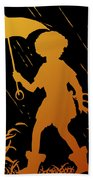 Golden Silhouette Of Child And Geese Walking In The Rain Beach Towel