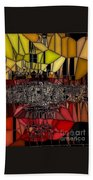 Golden Stained Abstract Beach Towel