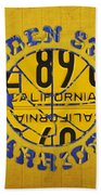 Golden State Warriors Basketball Team Retro Logo Vintage Recycled California License Plate Art Beach Sheet
