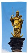 Golden Statue Of The Virgin Mary In Munich Germany Beach Towel