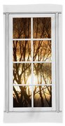 Golden Sun Silhouetted Tree Branches White Window View Beach Towel