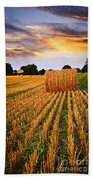 Golden Sunset Over Farm Field In Ontario Beach Towel
