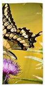 Golden Swallowtail Beach Towel