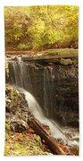 Golden Waterfall October In Ohio Beach Towel