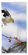 Goldfiches Flying Over Lichen Stump Beach Towel