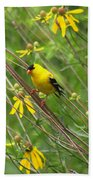 Goldfinch In The Flowers Beach Towel