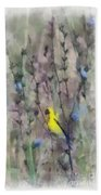 Goldfinch In Wildflowers Beach Towel