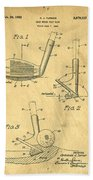 Golf Sand Wedge Patent On Aged Paper Beach Towel