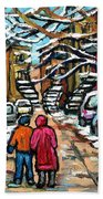 Good Day In January For Winter Stroll Snowy Trees And Cars Verdun Street Scene Painting Montreal Art Beach Towel
