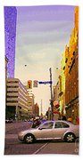 Good Morning Drive By Yonge St Starbucks Toronto City Scape Paintings Canadian Urban Art C Spandau  Beach Towel