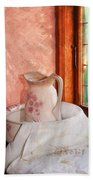 Good Morning- Vintage Pitcher And Wash Bowl  Beach Towel