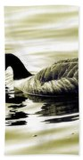 Goose Reflecting In The Water Beach Towel