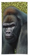 Gorilla With A Hedge Beach Towel by James W Johnson