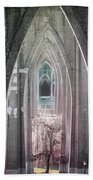 Gothic Arches Hands Folded In Prayer Beach Towel