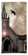 Gothic Surreal Haunted Church And Steeple With Crows And Ravens Flying  Beach Towel