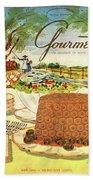 Gourmet Cover Featuring A Buffet Farm Scene Beach Towel