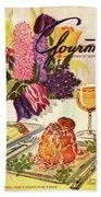 Gourmet Cover Featuring Sweetbread And Asparagus Beach Sheet